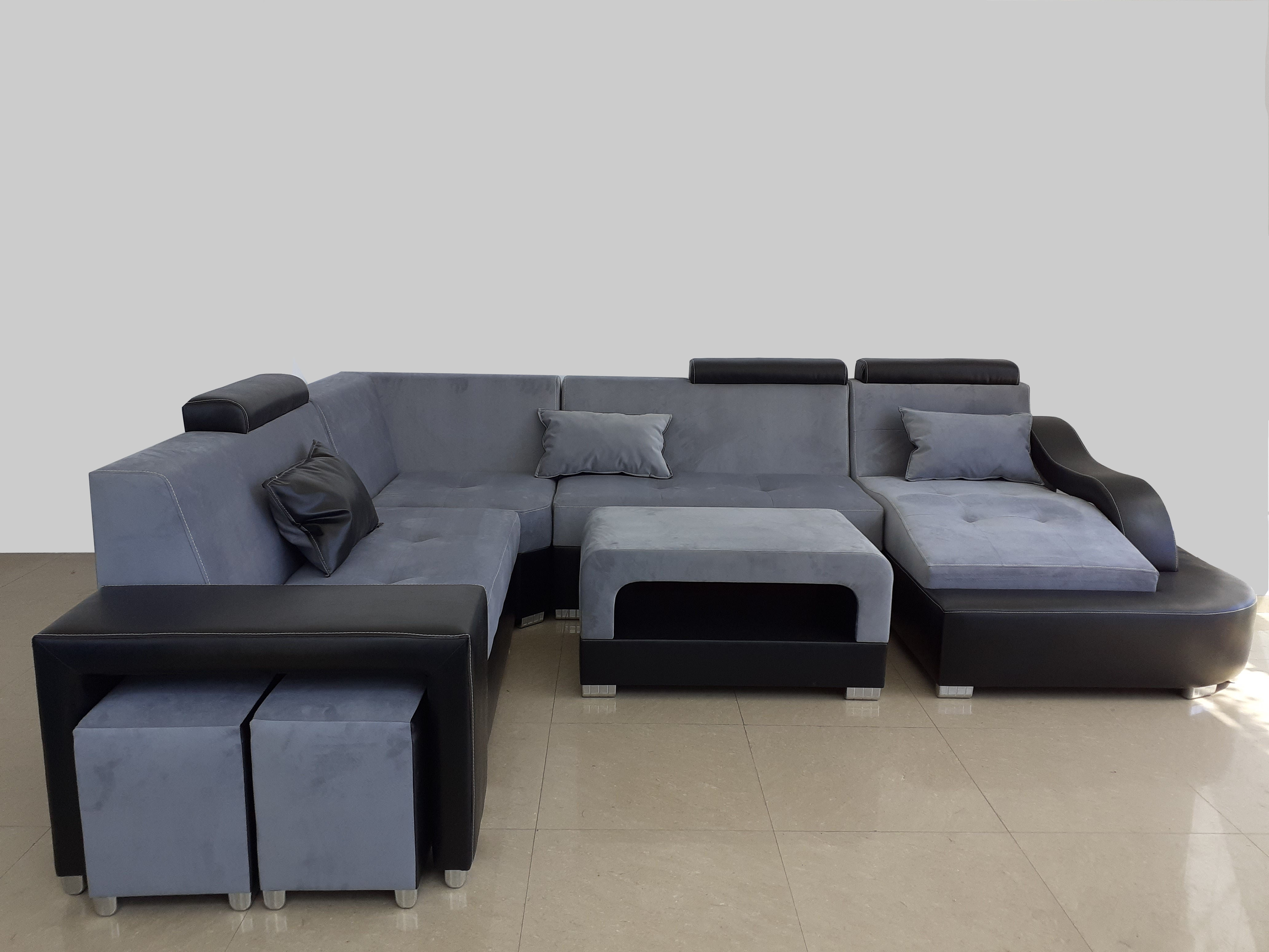Coltar New York in forma de U, Gri+Negru 350x160-270x99